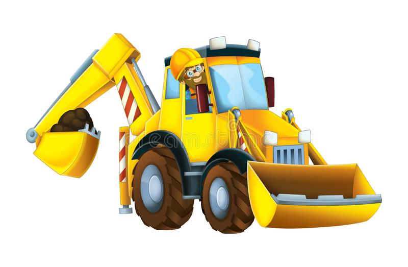 Cartoon funny excavator with worker in the window - on white background. Beautiful and colorful illustration for the children - for different usage - for fairy vector illustration