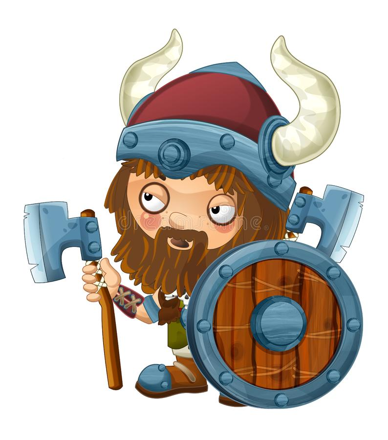 Cartoon viking warrior on white background. Beautiful and colorful illustration for the children - for different usage - for fairy tales vector illustration