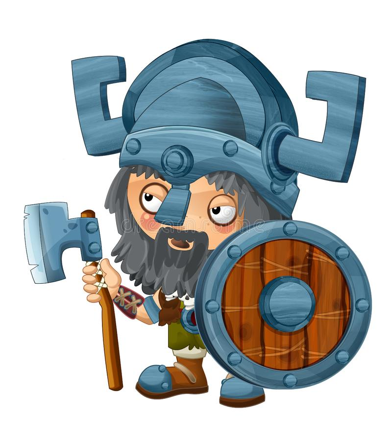 Cartoon viking warrior on white background. Beautiful and colorful illustration for the children - for different usage - for fairy tales royalty free illustration