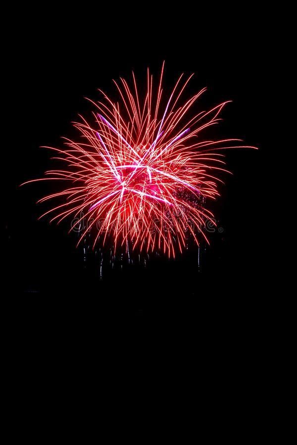 Beautiful colorful isolated firework display for celebration happy new year and merry christmas on black background. 4th abstract anniversary art blue bright royalty free stock photography