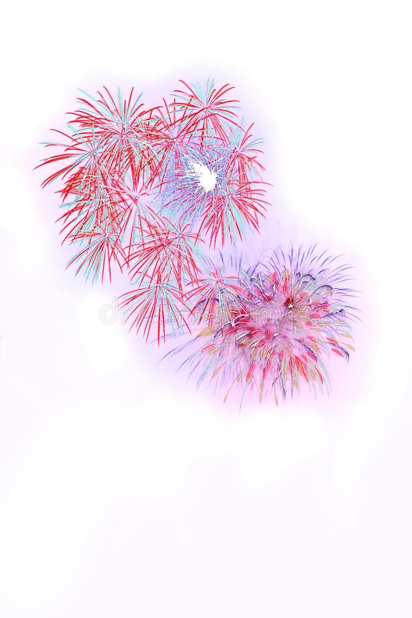 Beautiful colorful isolated firework display for celebration happy new year and merry christmas on white background. 4th abstract anniversary art black blue royalty free stock image