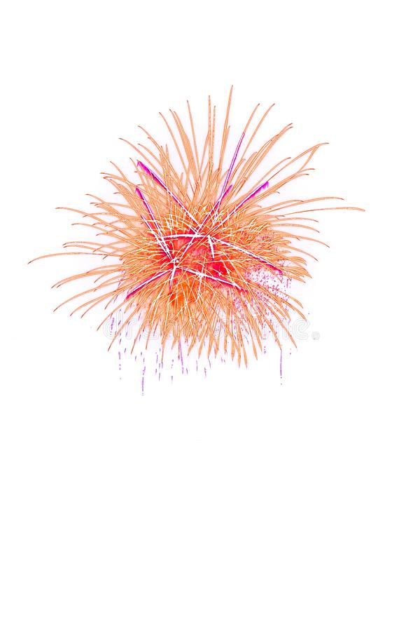 Beautiful colorful isolated firework display for celebration happy new year and merry christmas on white background. 4th abstract anniversary art black blue royalty free stock photo