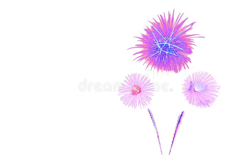 Beautiful colorful isolated firework display for celebration happy new year and merry christmas on white background stock photos