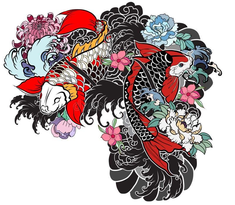 Beautiful, colorful Koi carp with water splash, lotus and peony flower. vector illustration