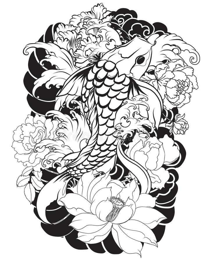 beautiful colorful koi carp with water splash lotus and peony flower traditional japanese. Black Bedroom Furniture Sets. Home Design Ideas
