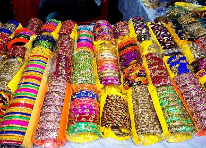 Beautiful Colorful Lakh Bangles-India stock photos