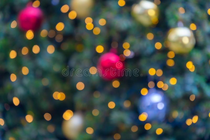 Beautiful colorful lights abstract bokeh blurred decoration for background celebration festive Christmas and Happy New Ye royalty free stock photography