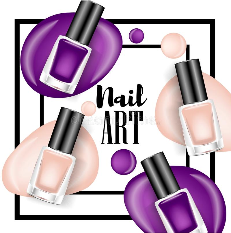 Beautiful colorful nail lacquer ads, glass bottle elements,vector realistic royalty free illustration