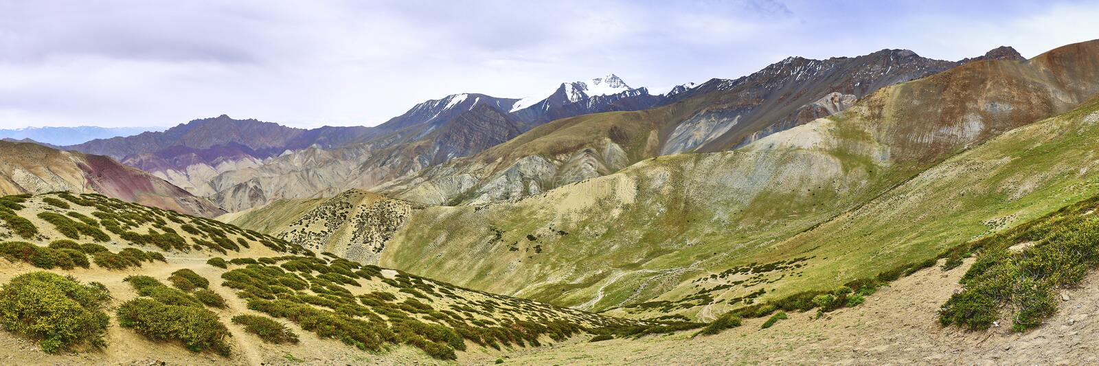 Beautiful colorful panoramic landscape taken from a Gandala pass in Himalaya mountains in Ladakh, India royalty free stock image