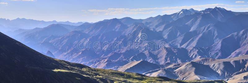 Beautiful colorful panoramic landscape taken from under Kang Yatze mountain in Himalayas, Ladakh, India stock photos
