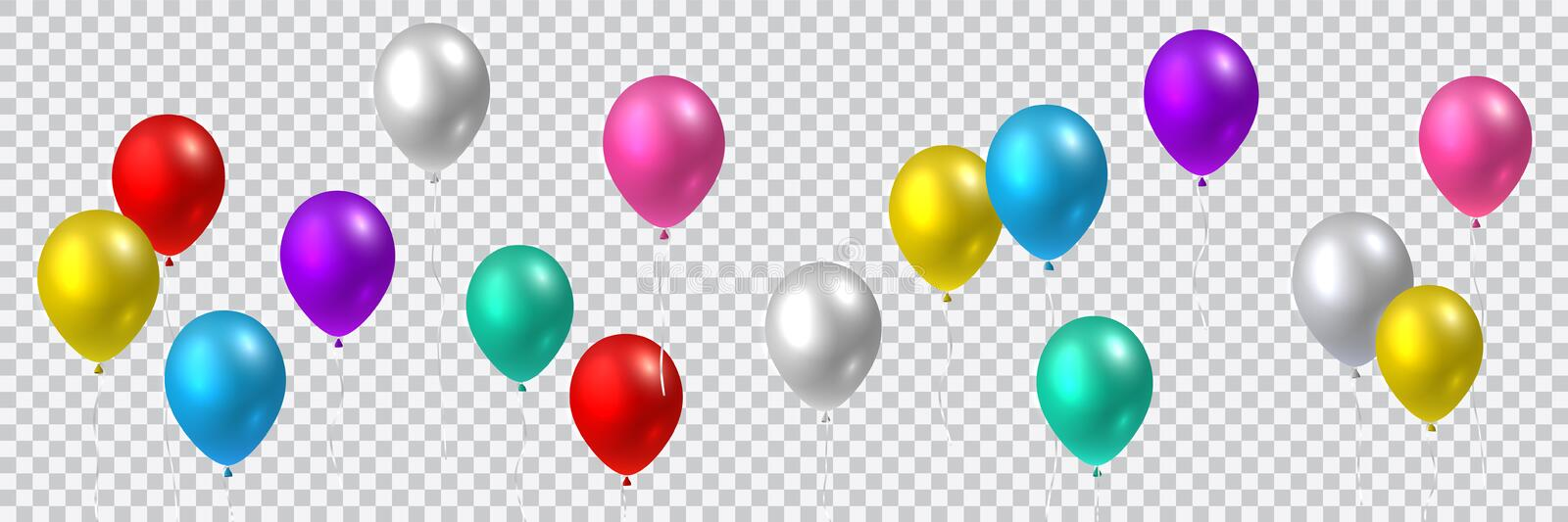 Beautiful colorful realistic seamless vector of colorful flying party balloons stock illustration