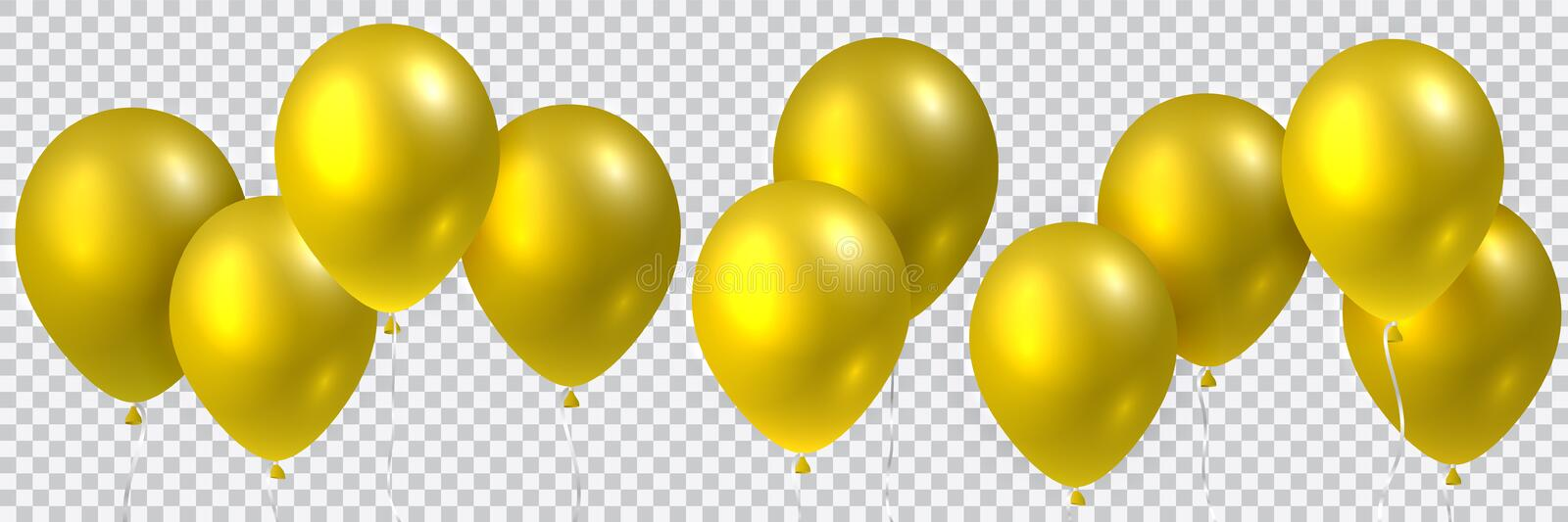 Beautiful colorful realistic seamless vector of golden flying party balloons stock illustration