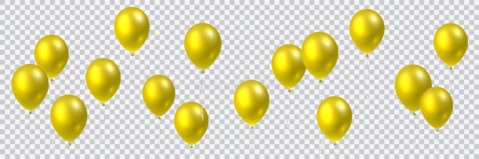 Beautiful colorful realistic seamless vector of golden flying party balloons vector illustration