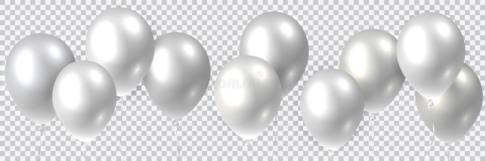 Beautiful colorful realistic seamless vector of silver flying party balloons stock illustration