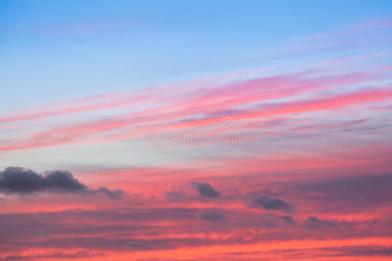 Beautiful Colorful red and blue sunset sky stock photography