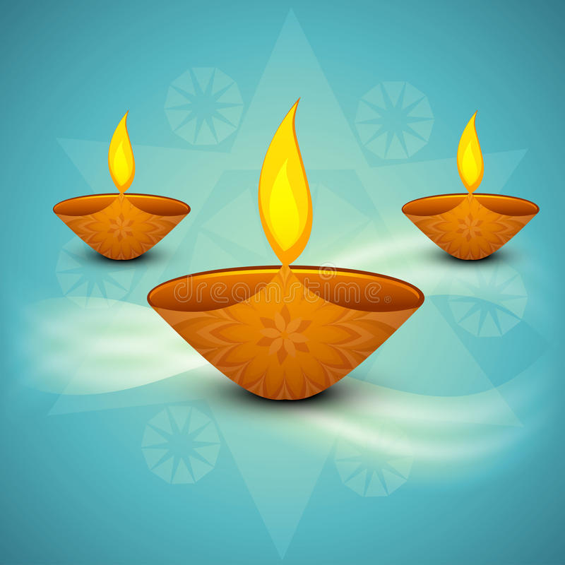 Beautiful colorful religious for Diwali diya royalty free illustration