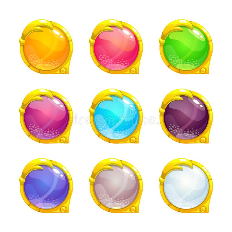 Beautiful colorful round buttons. With golden border. Vector assets for web or game design. Decorative GUI elements, isolated on white background royalty free illustration