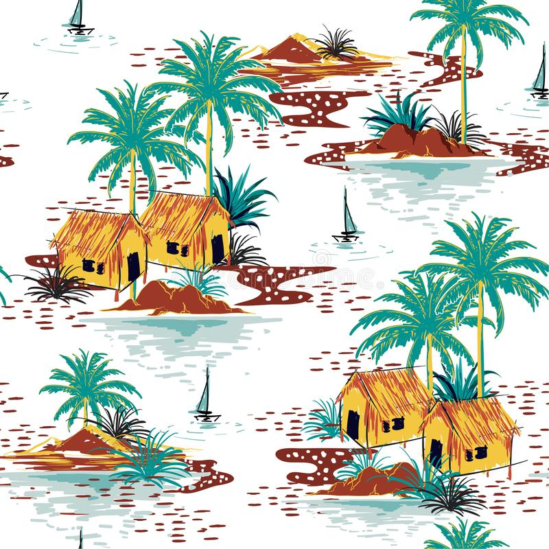 Beautiful colorful seamless island pattern on white background. royalty free illustration