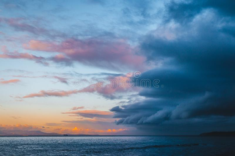 Beautiful colorful sky with approaching storm royalty free stock photography