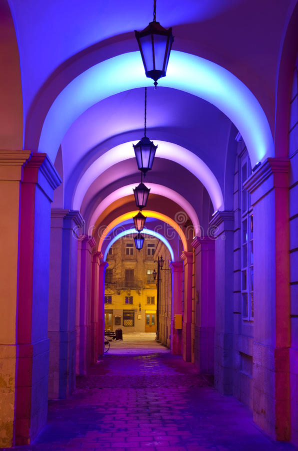 Beautiful colorful street lights at the entrance to the town hal