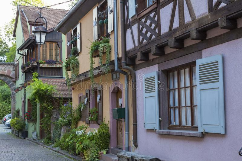 Beautiful colorful  street of medieval village Kaysersberg. Alsace. France royalty free stock photos