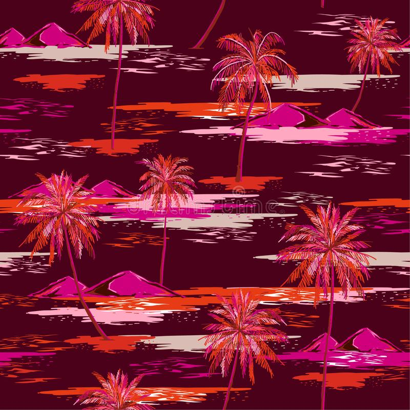 Beautiful colorful summer Seamless island pattern Landscape with palm trees,beach and ocean vector hand drawn style. On dark maroon color background.Design for stock illustration