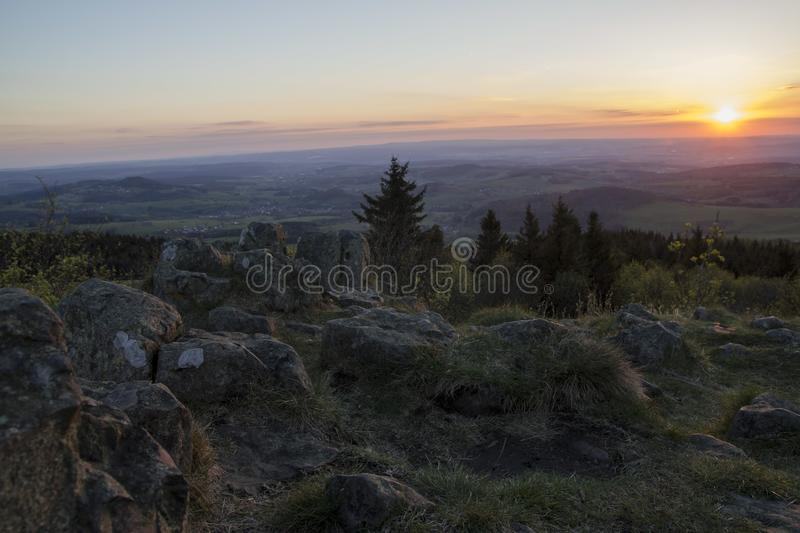 Beautiful colorful sunset on a mountain royalty free stock image