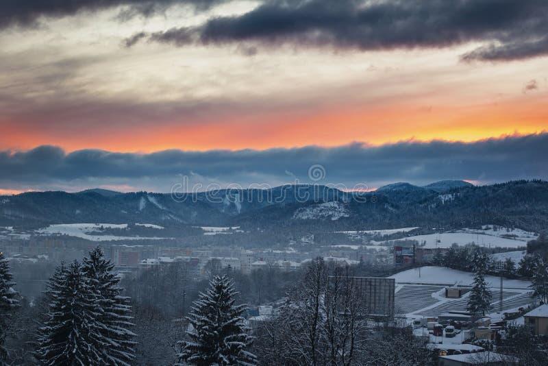 Beautiful colorful sunset over Banska Bystrica, Slovakia stock photography