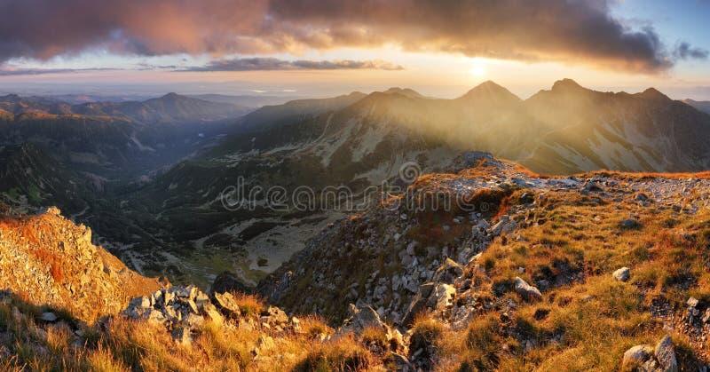 Beautiful colorful sunset over  Mountain landscape panorama, Rohace - Slovakia Tatras stock photo