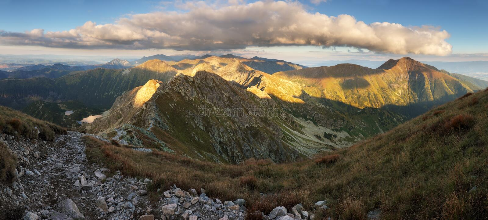 Beautiful colorful sunset over  Mountain landscape panorama, Rohace - Slovakia Tatras stock images