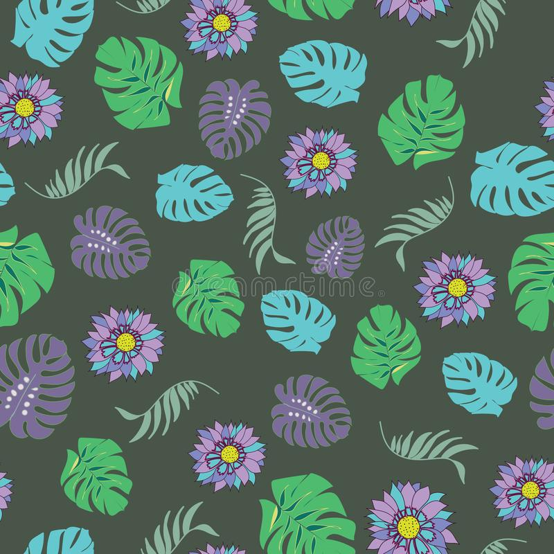 Beautiful and colorful tropical flowers seamless pattern vector vector illustration