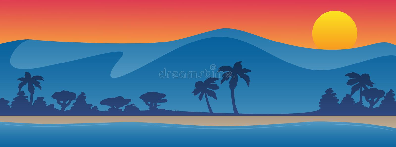 Mountains with beach shoreline summer scene background vector illustration stock images