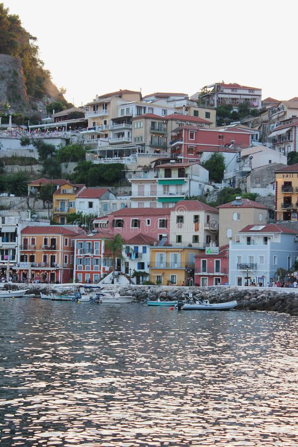 Beautiful colorful view of Parga harbour Epirus. Greece stock images