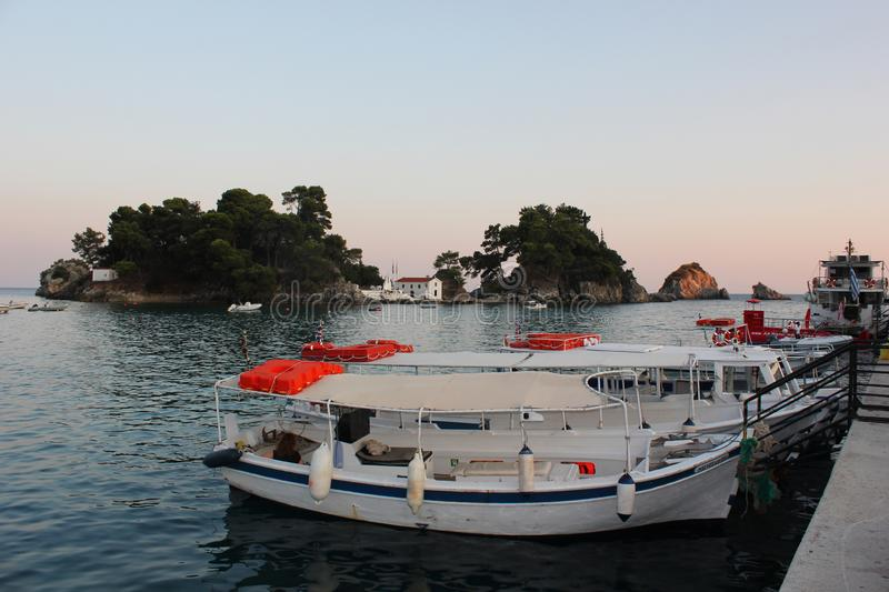 Beautiful colorful view of Parga harbour Epirus. Greece royalty free stock photos
