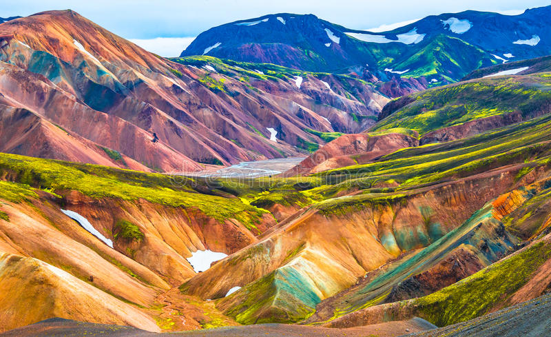 Beautiful colorful volcanic mountains Landmannalaugar in Iceland. Summer time stock image