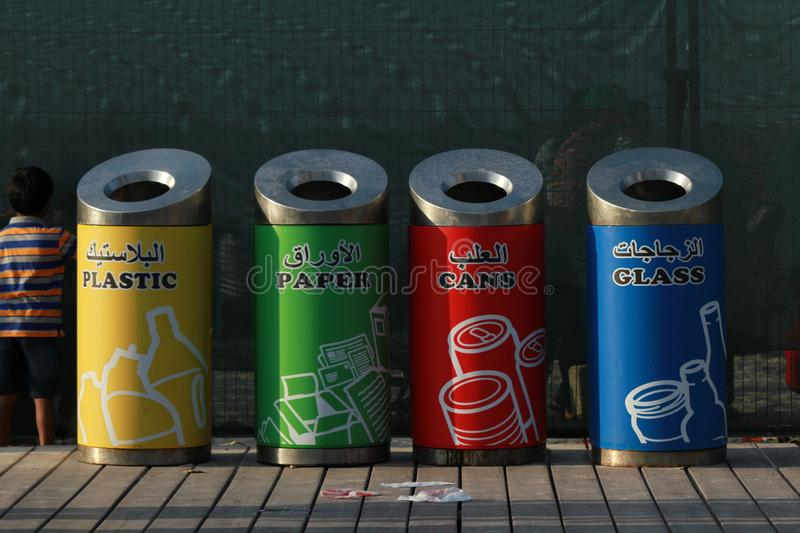 Beautiful and colorful waste bins stock photography