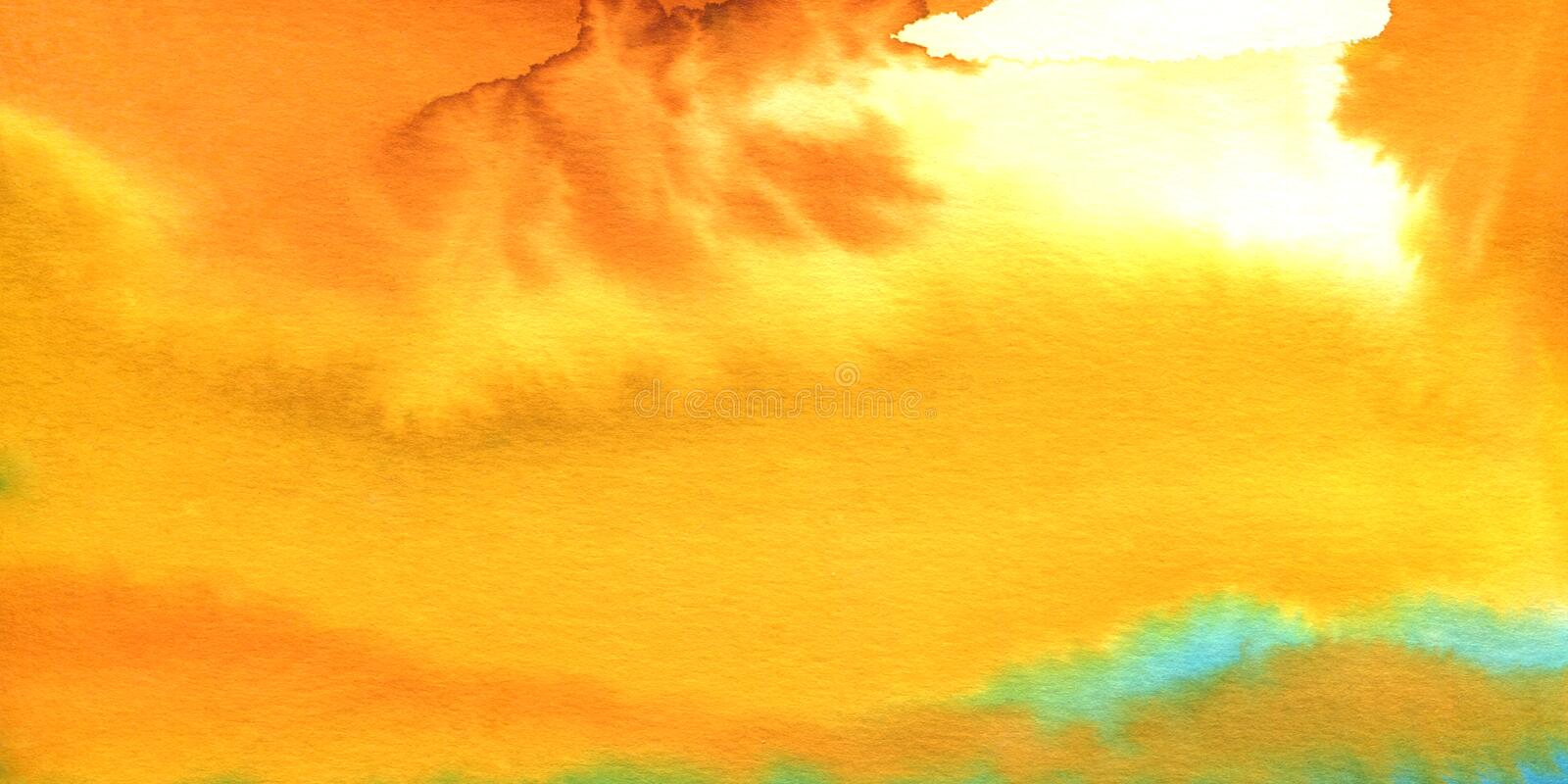 Beautiful colorful watercolor texture bright background, yellow, orange color, modern aquarelle abstract painting stock photos