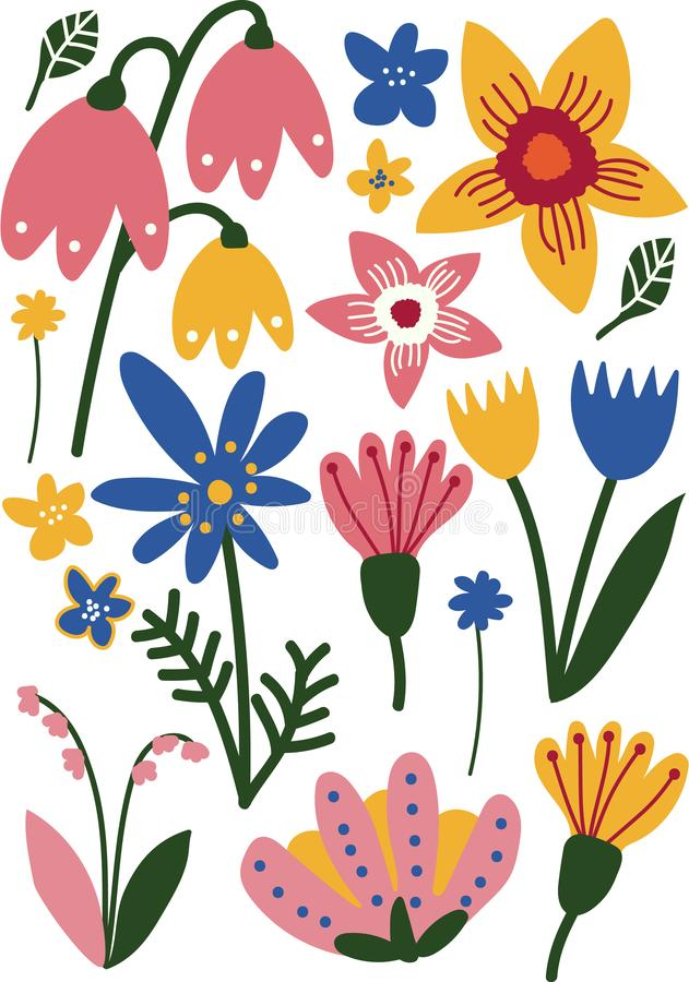Beautiful Colorful Wild and Garden Blooming Flowers, Floral Seamless Pattern, Seasonal Decor Vector Illustration vector illustration