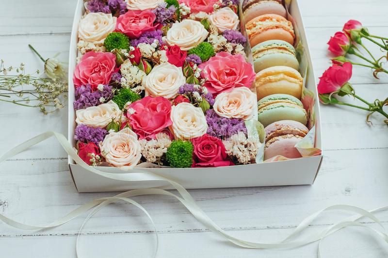 Beautiful colors of flowers and tasty Bizet. On white background stock photo