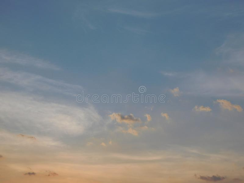 Beautiful colors of the sky and clouds. Background, bright, blue royalty free stock photography