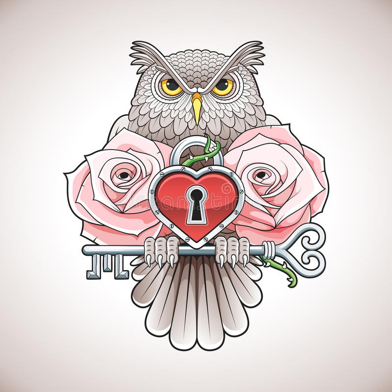 Free Beautiful Colour Tattoo Design Of An Owl Holding A Key With A Heart Locket And Pink Roses Stock Image - 69669111