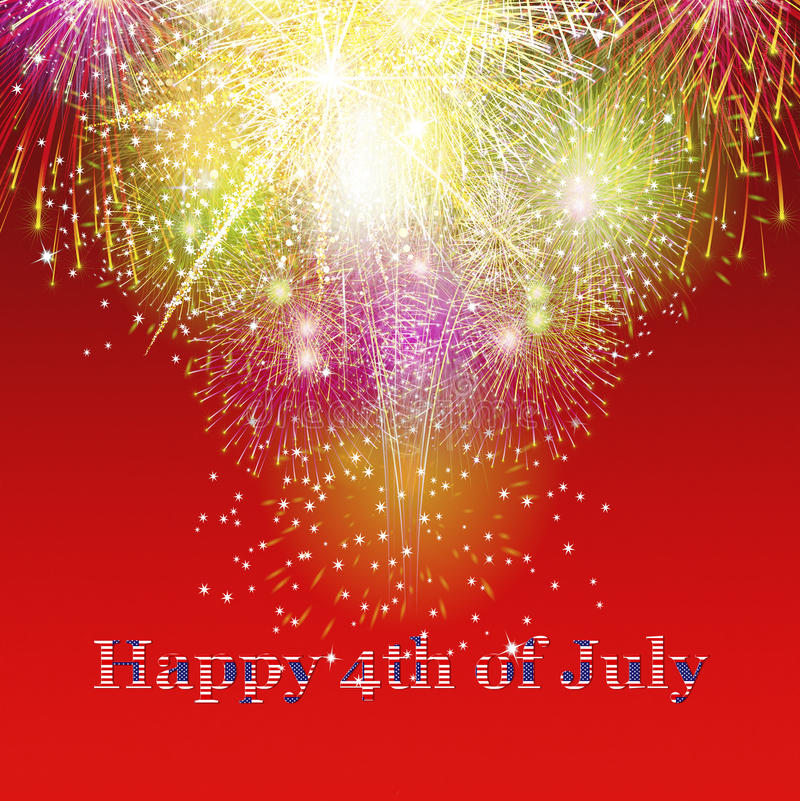 Beautiful colourful holiday fireworks over red background royalty free stock photography