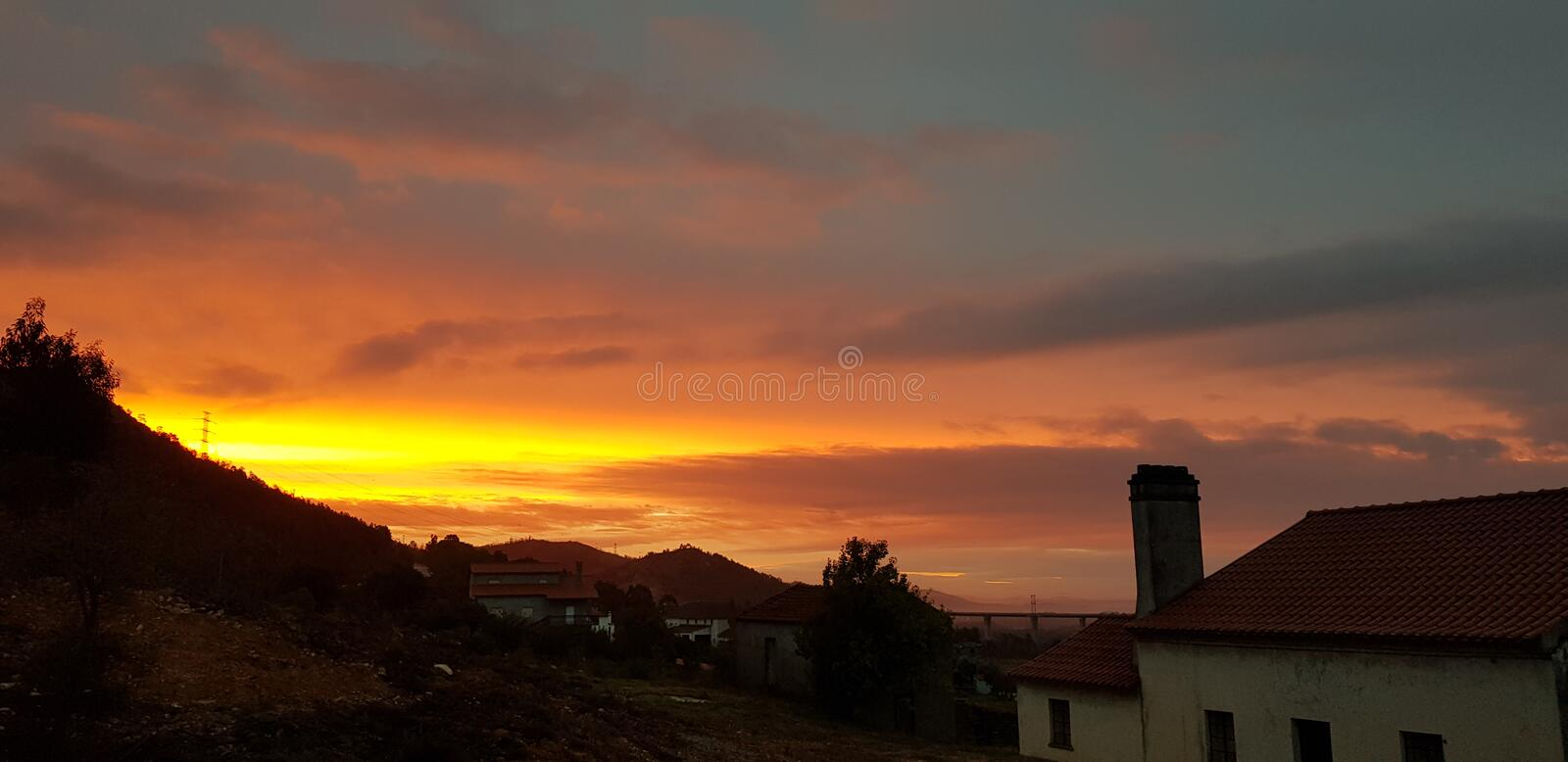 Beautiful colourful sunrise over mountainside in Portugal stock images