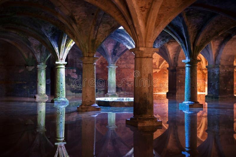 Beautiful columns. Wonderful subterranean reservoir water flooding royalty free stock images