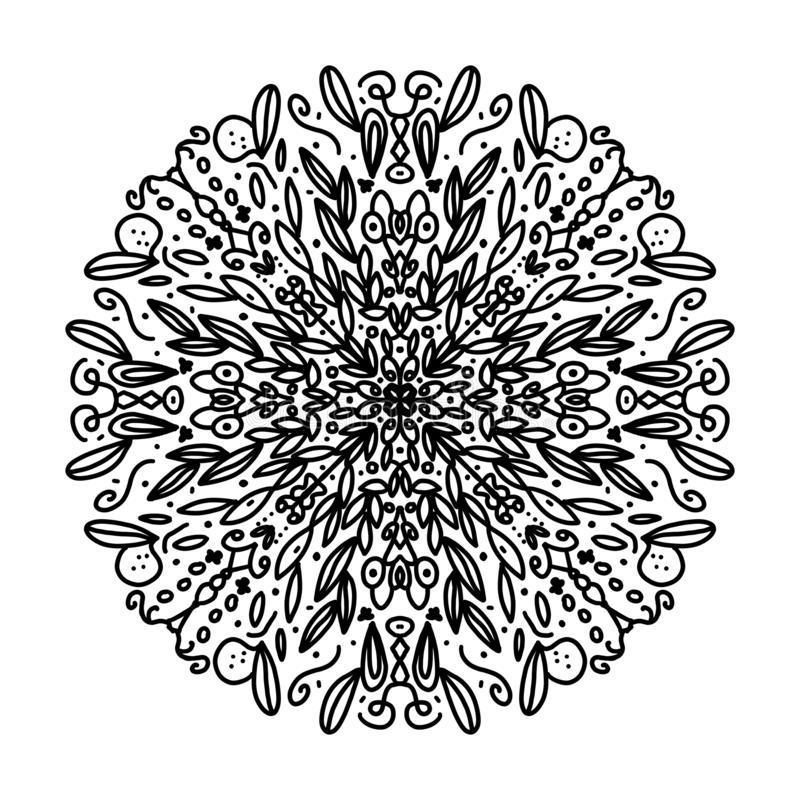 Beautiful complicated mandala to color, inspired by nature, with leaves, black in white background stock photo