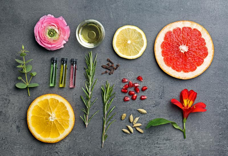 Beautiful composition with perfume samples royalty free stock images