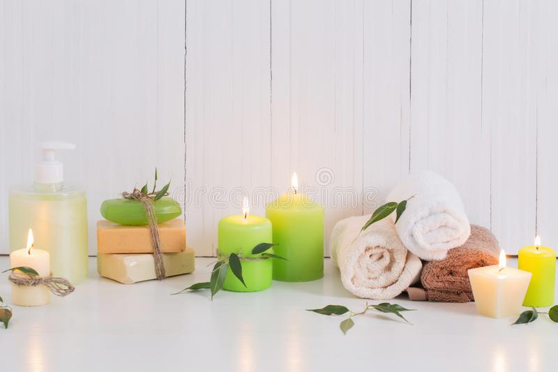 Beautiful composition of spa treatment. On white background royalty free stock photography
