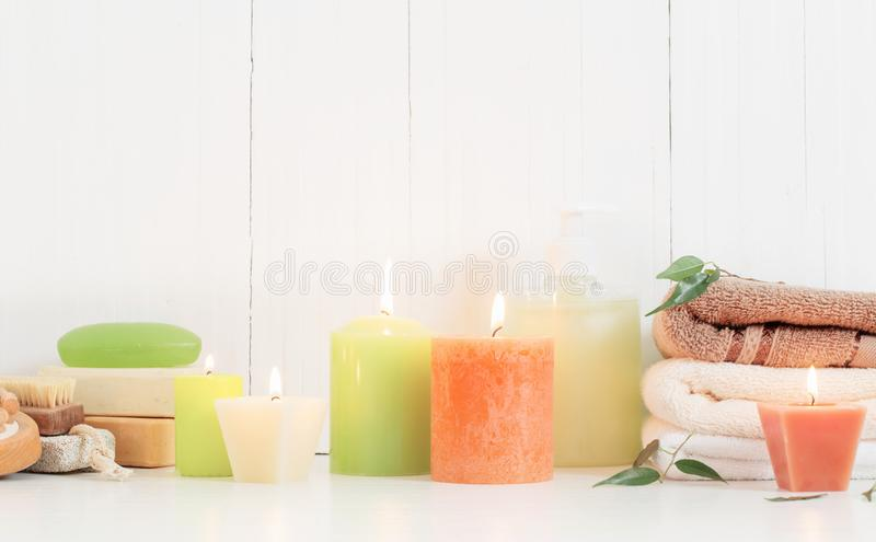Beautiful composition of spa treatment on white background. The beautiful composition of spa treatment on white background stock images