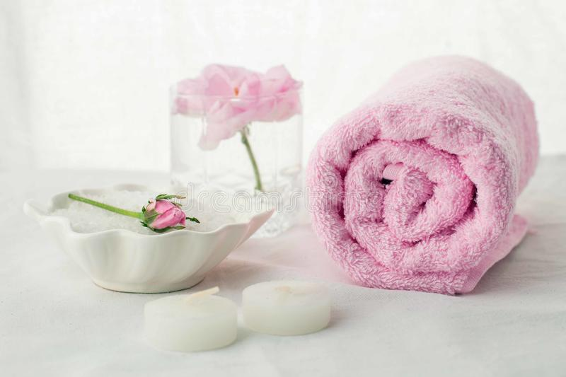 Beautiful composition of spa treatment on white background. Concept of relax, wellness and mindfulness royalty free stock photos