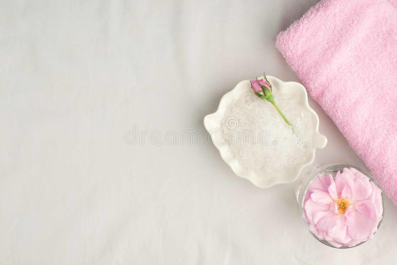 Beautiful composition of spa treatment on white background. Concept of relax, wellness and mindfulness stock images